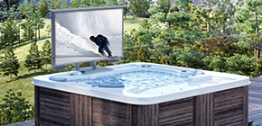 Bathtub complements with outdoor TV.
