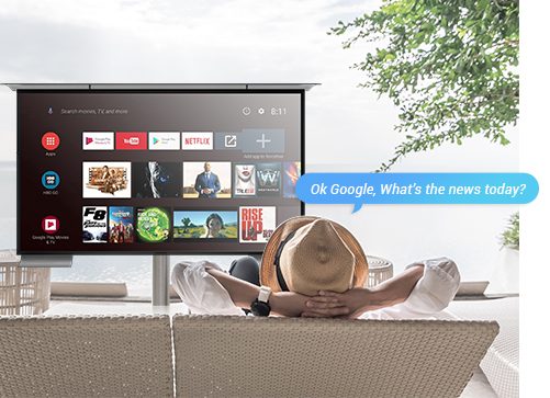 Voice Control smart TV with Google Assistant Outdoors.